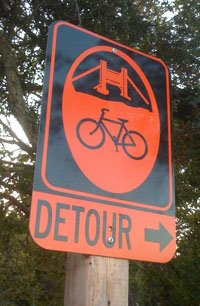 San Francisco bike route detour sign