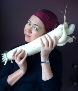 Arlene with enormous daikon radish