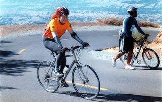 Arlene biking up Mt. Diablo, photograph © Doorstep Photography