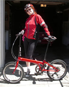 Arlene with folding bike unfolded