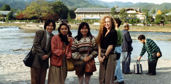 photography of Arlene with her pen pal and her pen pal's friends in Kyoto, 1992