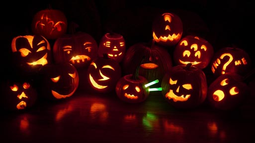 Jack-o-lantern group portrait by Steven Pitsenbarger