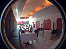 stylish red and white futuristic interior of Kwanjai Thai restaurant