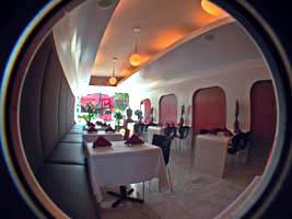 stylish red and white futuristic interior of Kwanjai Thai restaurant