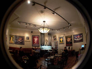 interior view of Cafe Greco at night, San Francisco's North Beach district
