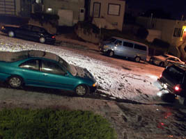 white hail piles up in San Francisco on my street, March 10, 2006