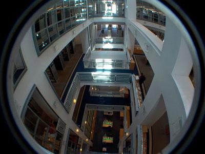 fisheye view of SF Main Library interior