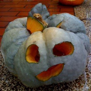 first face of jack o lantern carved into strangely lobed winter squash
