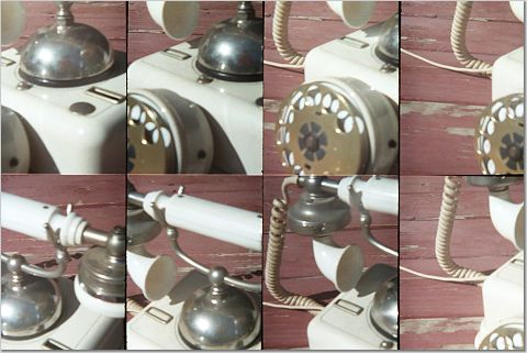 eight little photos of an antique European telephone