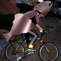 photograph of Arlene in metallic fish costume on bicycle