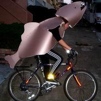 photograph of Arlene in metallic fish costume on bicycle