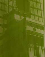 bad pale green gum bichromate image of building with elaborate Chinese tile roof