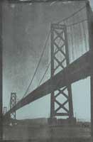 black gum bichromate print of Bay Bridge with small sailboat