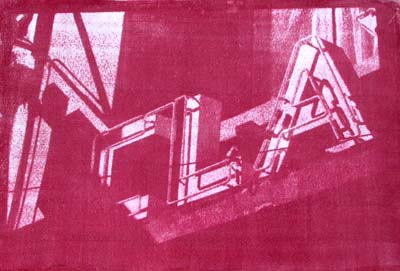 red gum bichromate print of neon sign reading CLA