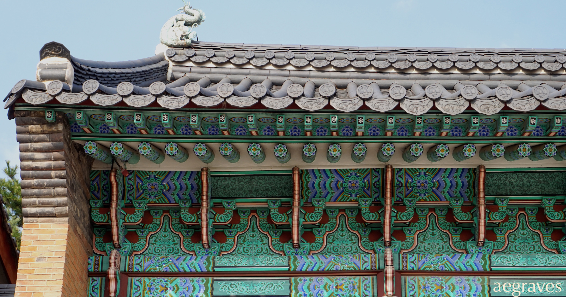 detail from photo of a historic building in Seoul, Korea, by A.E. Graves