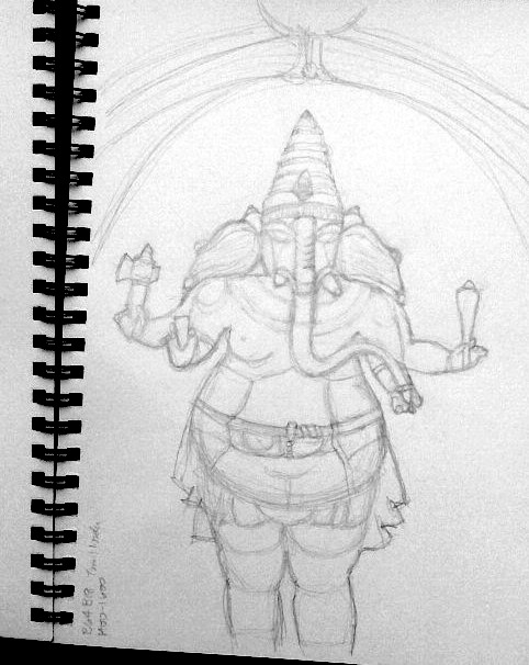 pencil sketch of Ganesha sculpture by A.E. Graves